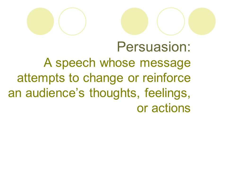 Persuasion: A speech whose message attempts to change or reinforce an audience's thoughts, feelings, or actions