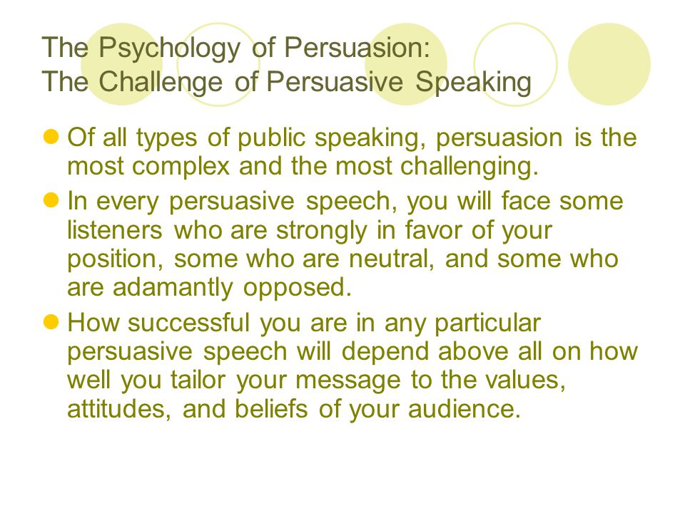 The Psychology of Persuasion: The Challenge of Persuasive Speaking