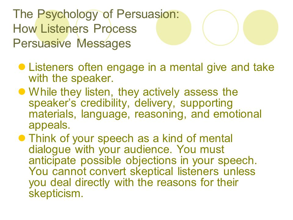 The Psychology of Persuasion: How Listeners Process Persuasive Messages