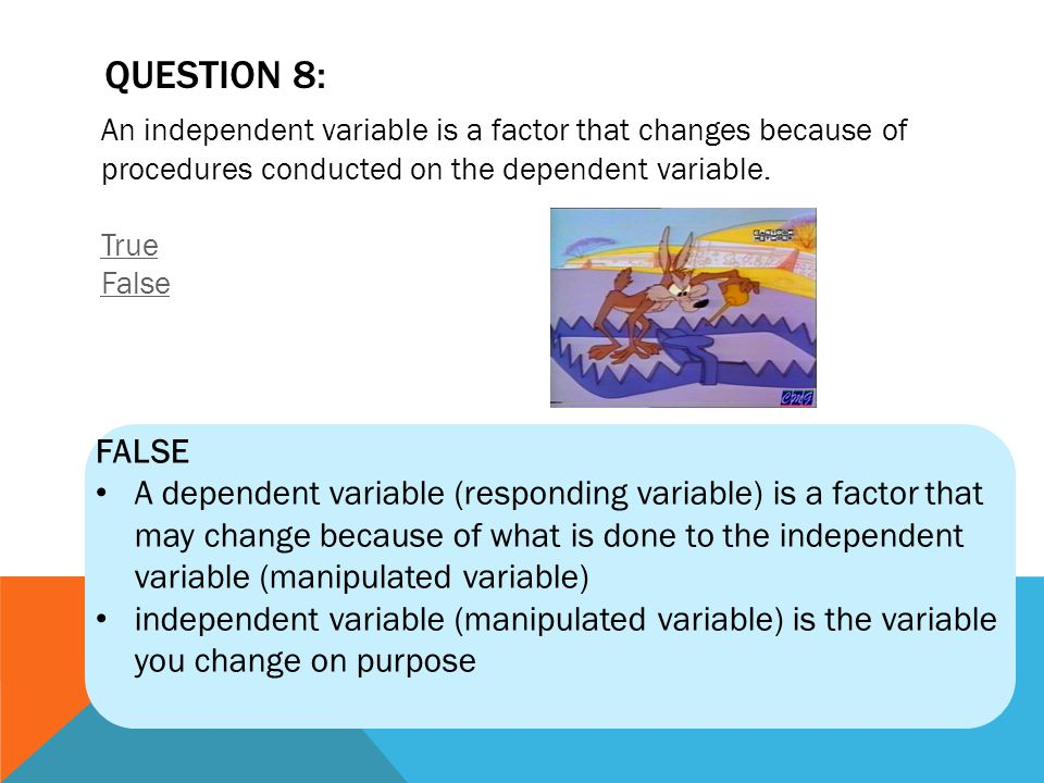 QUESTION 8: An independent variable is a factor that changes because of procedures conducted on the dependent variable. True False.