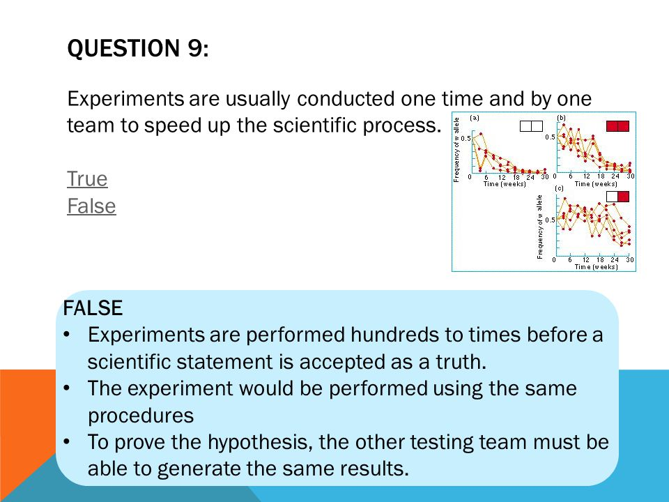 QUESTION 9: Experiments are usually conducted one time and by one team to speed up the scientific process. True False.