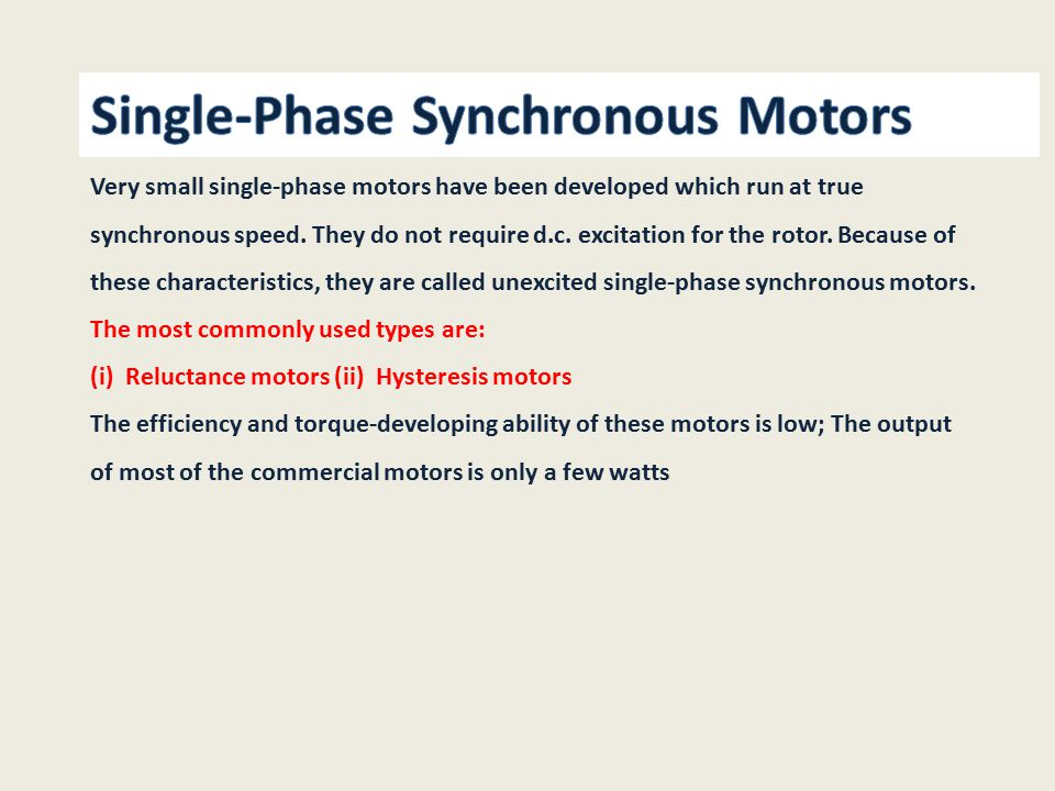 22 Single-Phase Synchronous Motors
