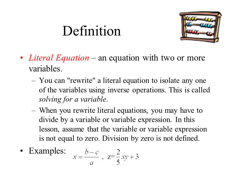 Literal Equations And Formulas Ppt Video Online Download