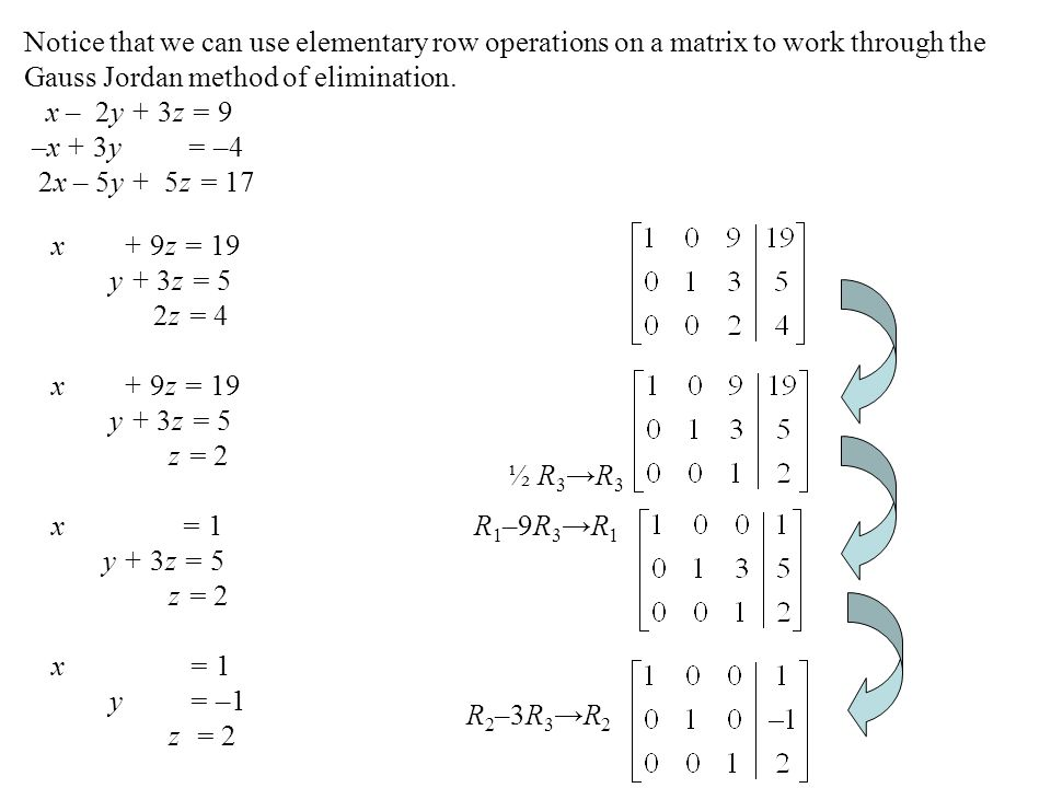 Notice that we can use elementary row operations on a matrix to work through the Gauss Jordan method of elimination.