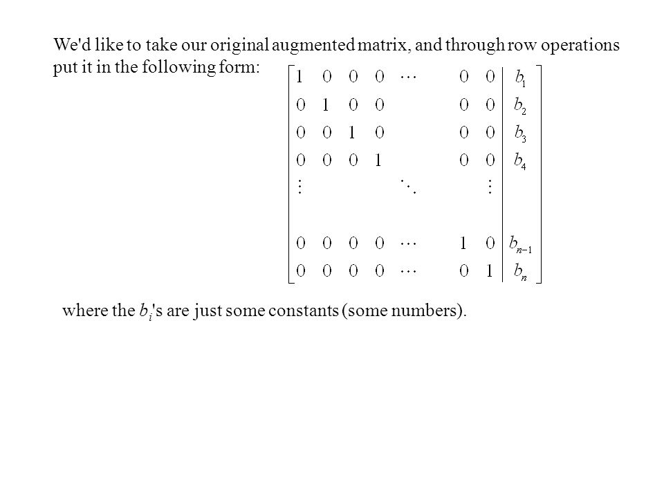 We d like to take our original augmented matrix, and through row operations put it in the following form: