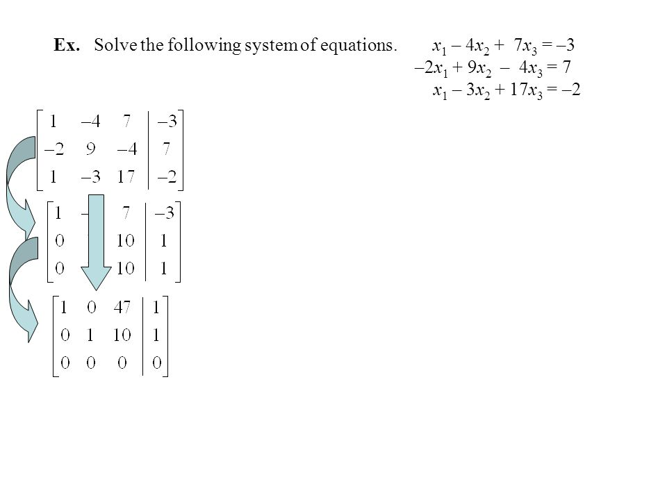 Ex. Solve the following system of equations. x1 – 4x2 + 7x3 = –3