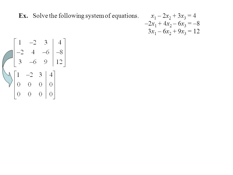 Ex. Solve the following system of equations. x1 – 2x2 + 3x3 = 4