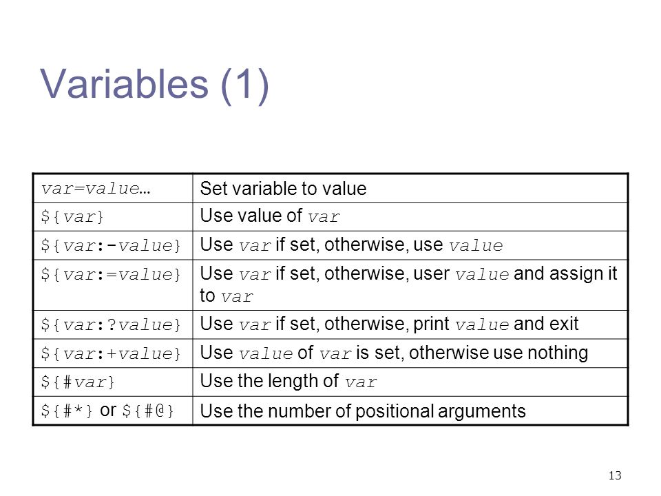 Variables (1) var=value… Set variable to value ${var} Use value of var