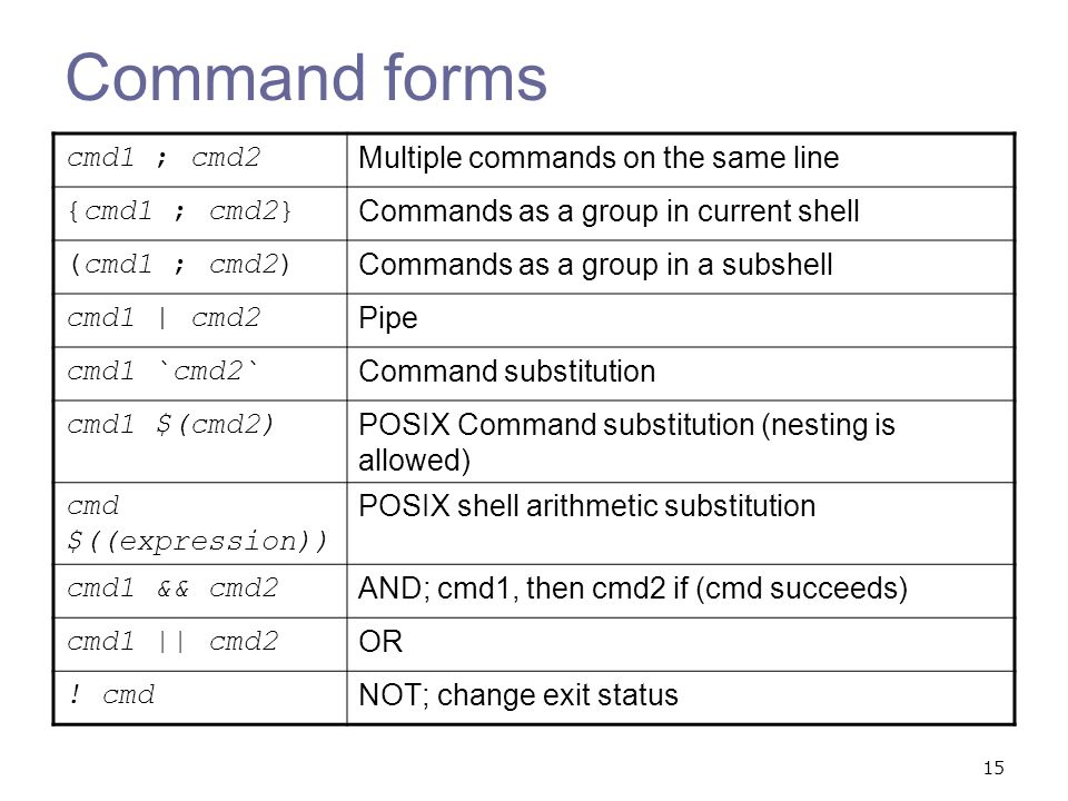 Command forms cmd1 ; cmd2 Multiple commands on the same line