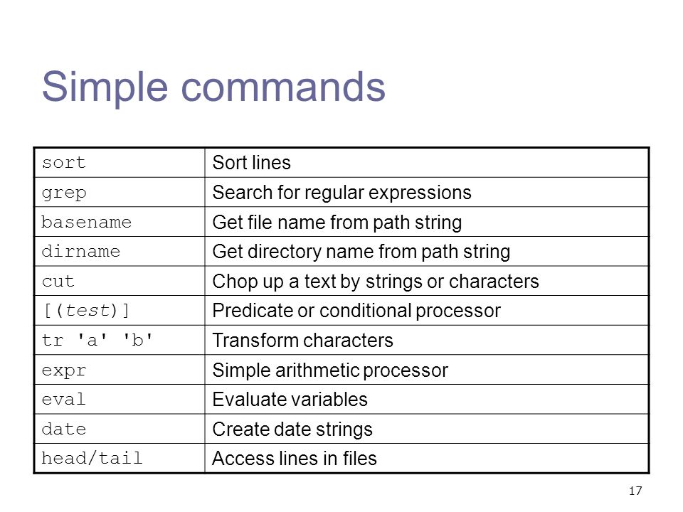 Simple commands sort Sort lines grep Search for regular expressions
