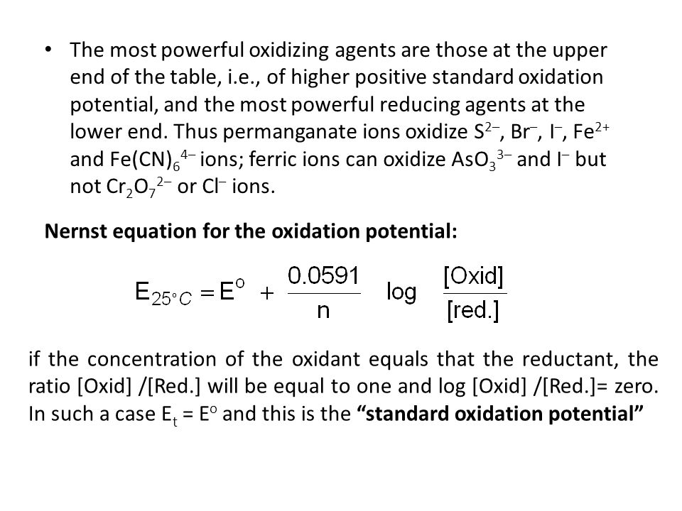 standard oxidation potential table pdf