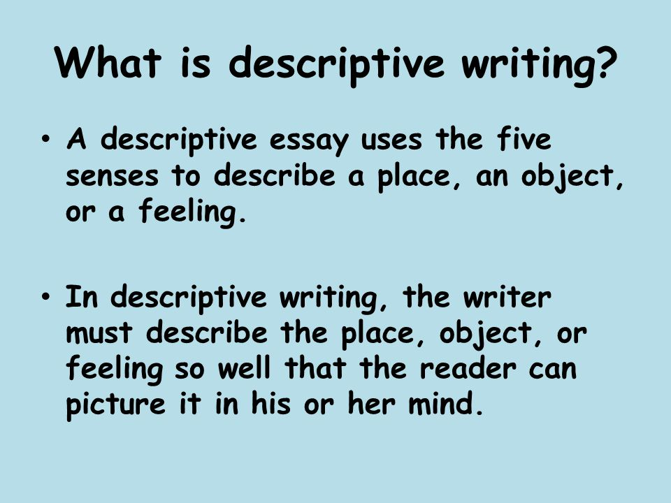 Examples Thesis Statements Essays  What Is Descriptive  Science Development Essay also Examples Of An Essay Paper Descriptive Writing  Ppt Video Online Download Essay Writing Paper