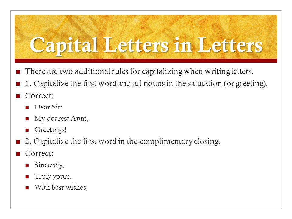 Friendly or personal letters ppt video online download capital letters in letters spiritdancerdesigns Image collections