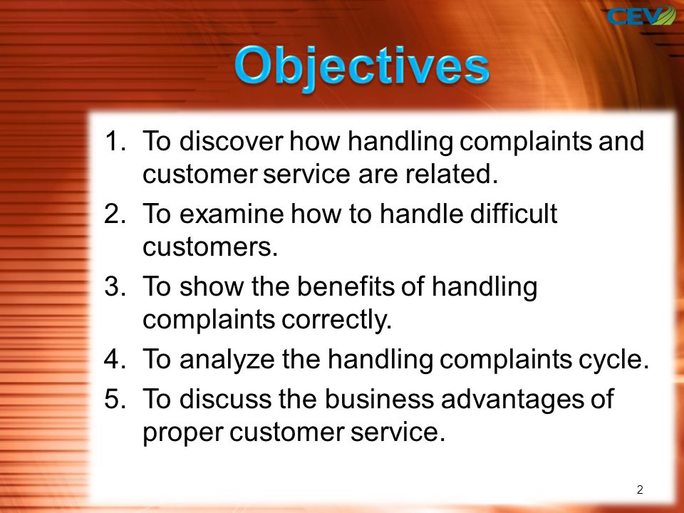 objectives for customer service