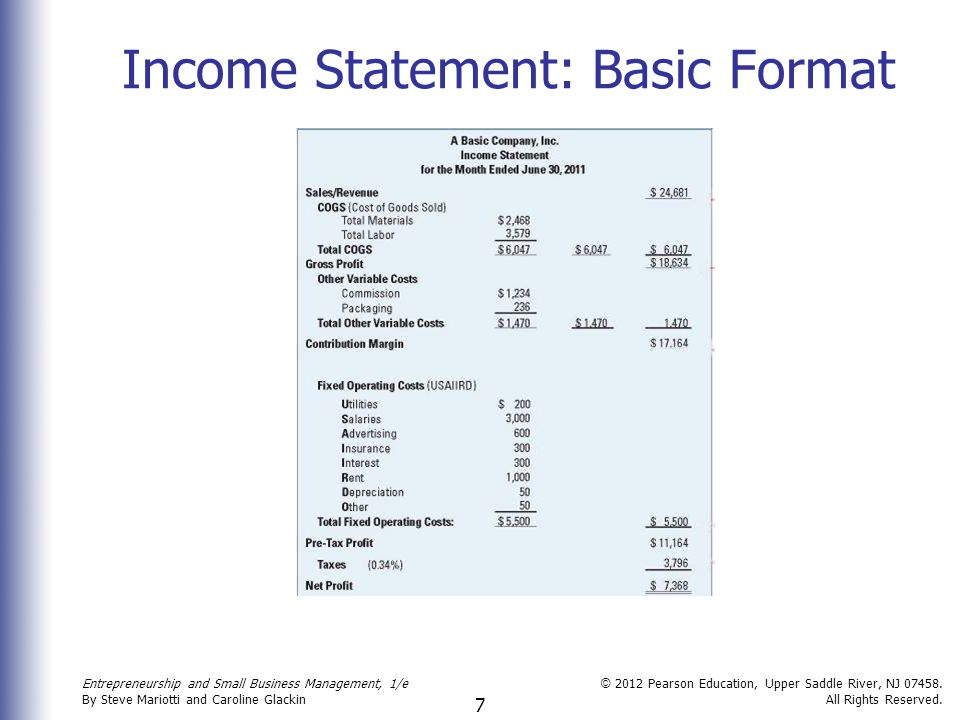 7 Income Statement: Basic Format