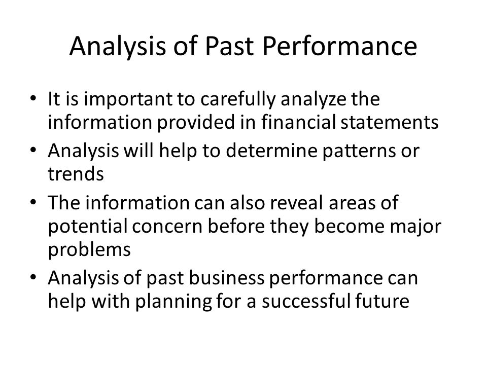 Analysis of Past Performance