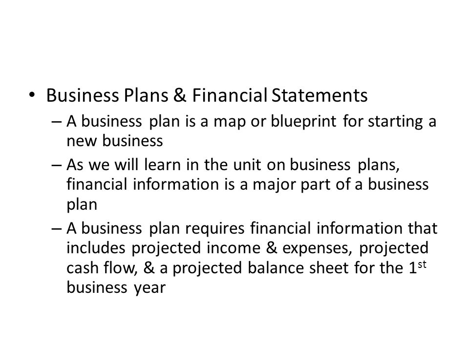 Business Plans & Financial Statements