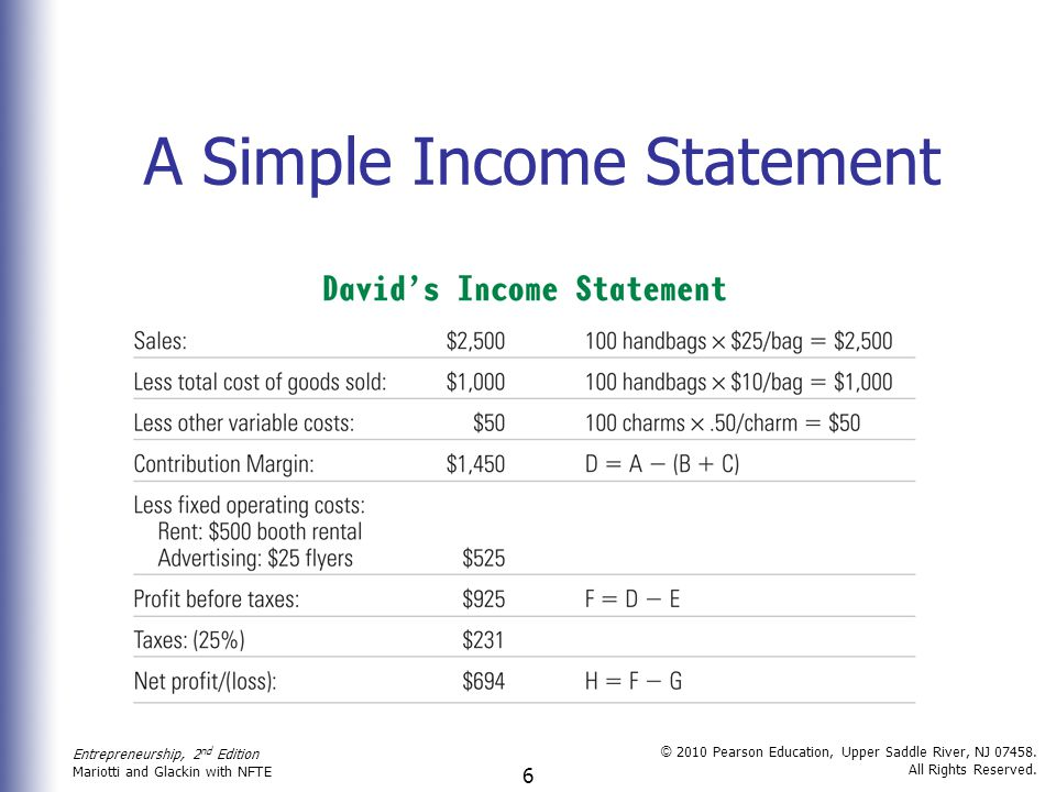 6 a simple income statement