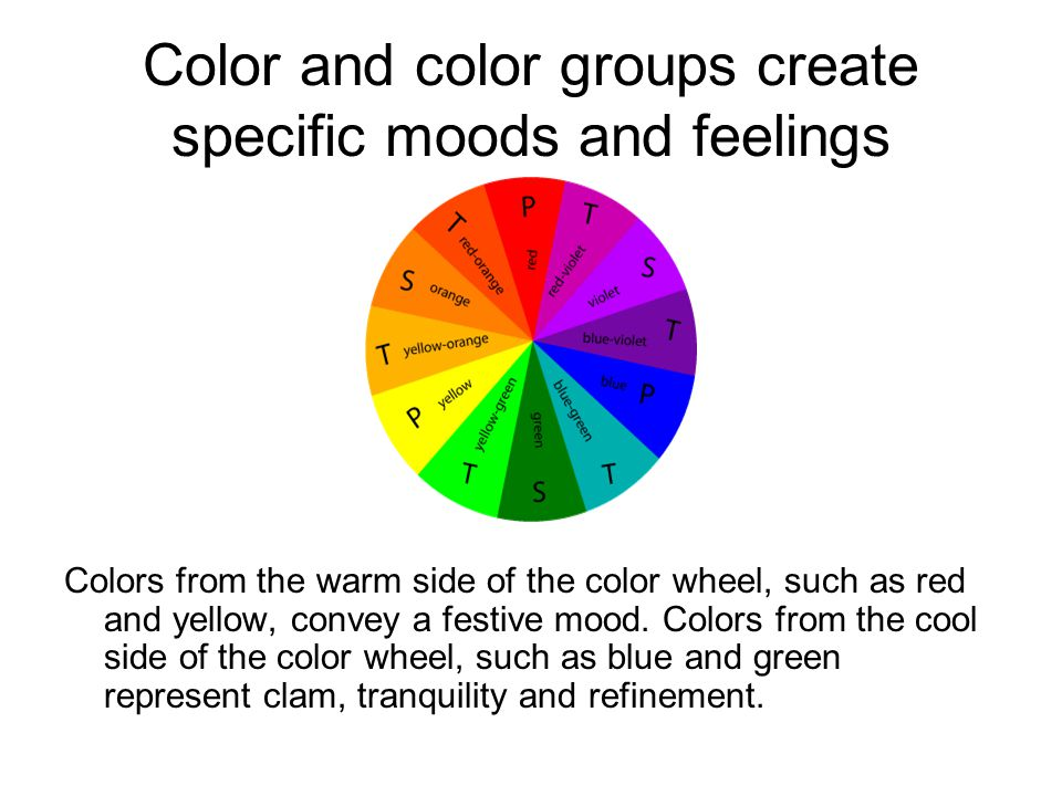 Color and color groups create specific moods and feelings