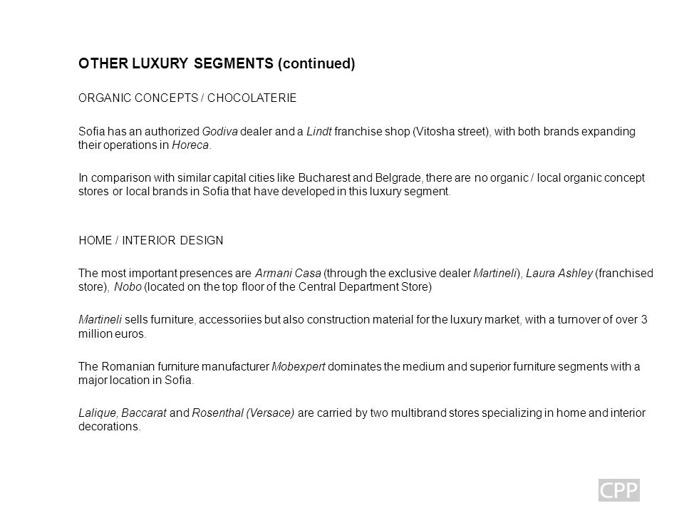 BULGARIA Luxury Market MARKET REVIEW Ppt Download Adorable Luxury Home Decor Brands Concept