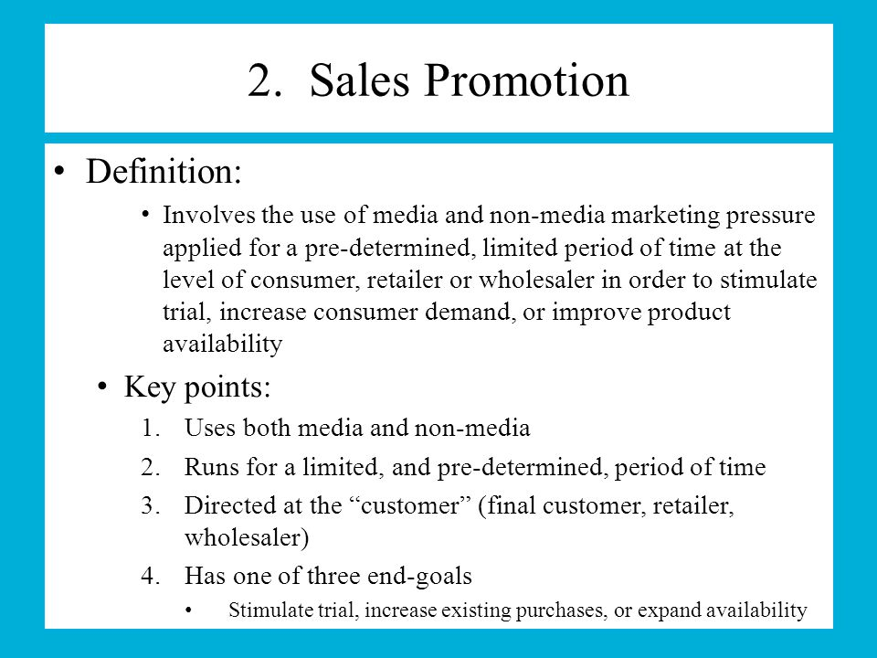 what do you mean by sales promotion