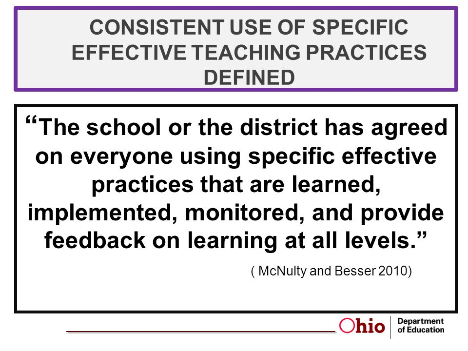 CONSISTENT USE OF SPECIFIC EFFECTIVE TEACHING PRACTICES DEFINED