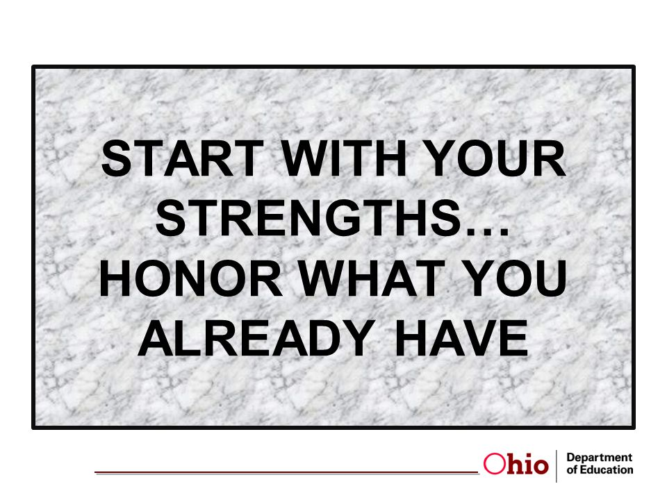 START WITH YOUR STRENGTHS… HONOR WHAT YOU ALREADY HAVE