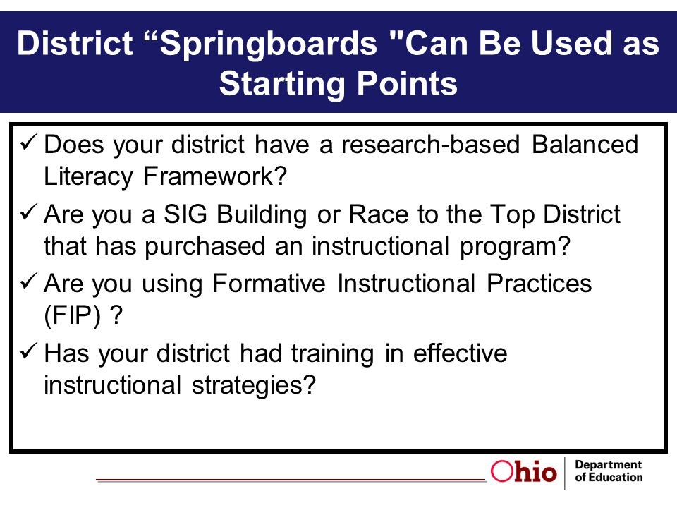 District Springboards Can Be Used as Starting Points
