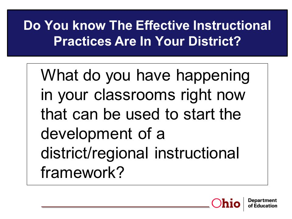 Do You know The Effective Instructional Practices Are In Your District