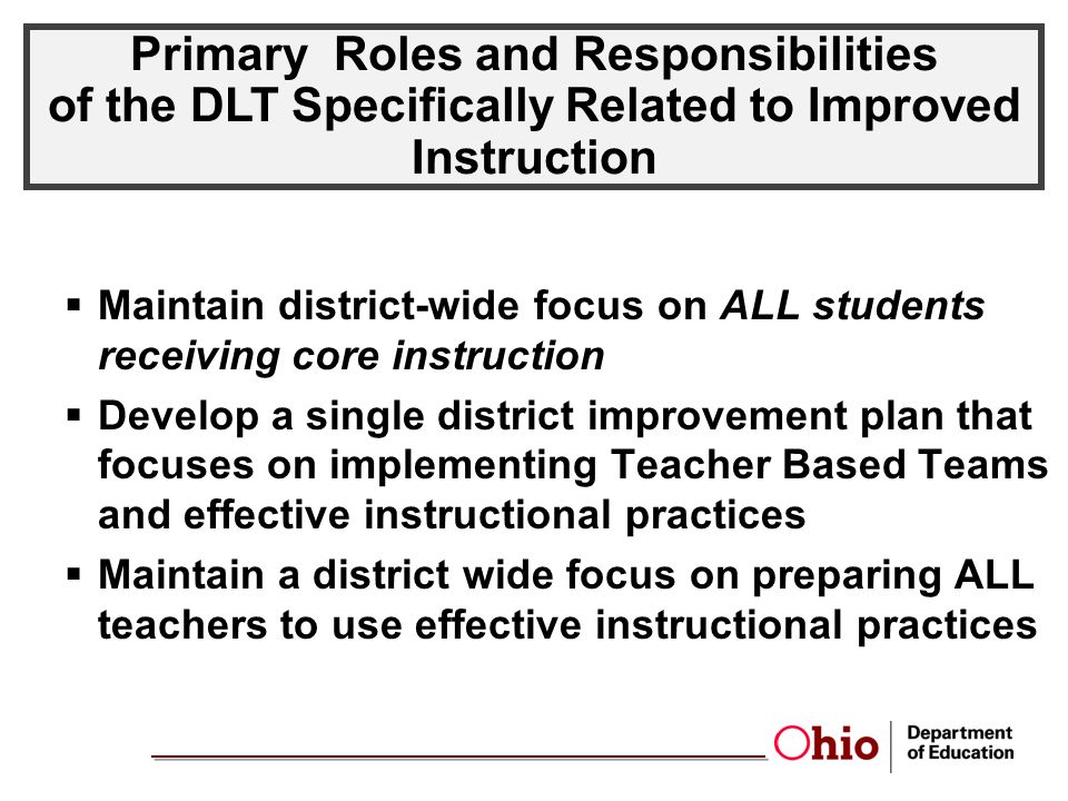 Primary Roles and Responsibilities of the DLT Specifically Related to Improved Instruction