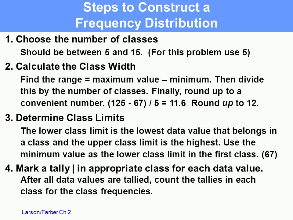 Steps to Construct a Frequency Distribution