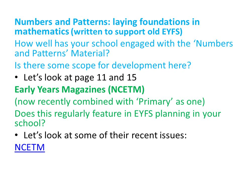Numbers and Patterns: laying foundations in mathematics (written to support old EYFS)