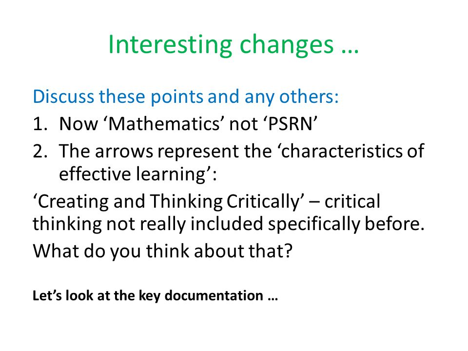 Interesting changes … Discuss these points and any others:
