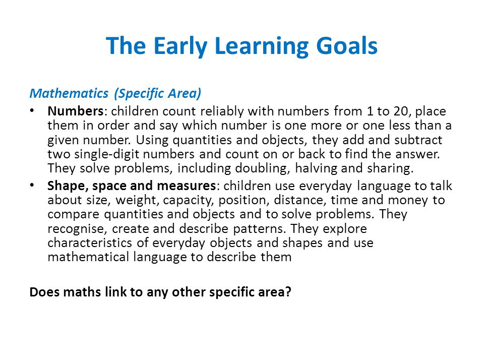 The Early Learning Goals