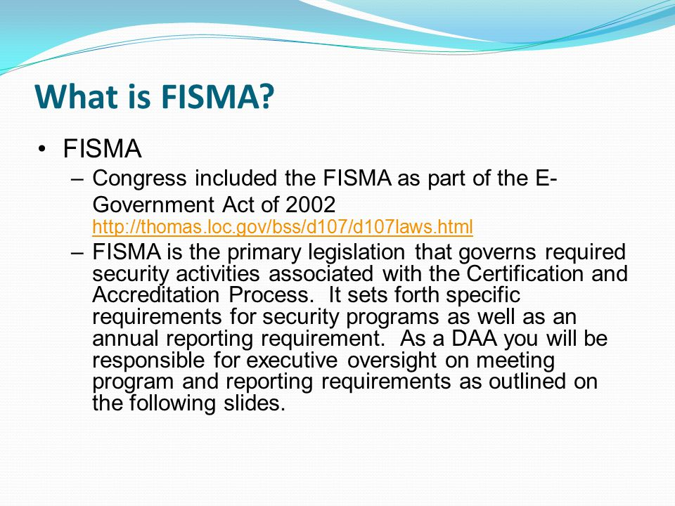 Complying With The Federal Information Security Act (FISMA) - ppt ...