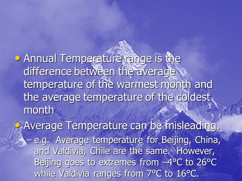Average Temperature can be misleading.