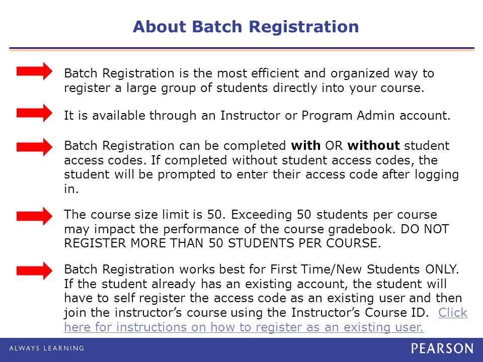 About Batch Registration