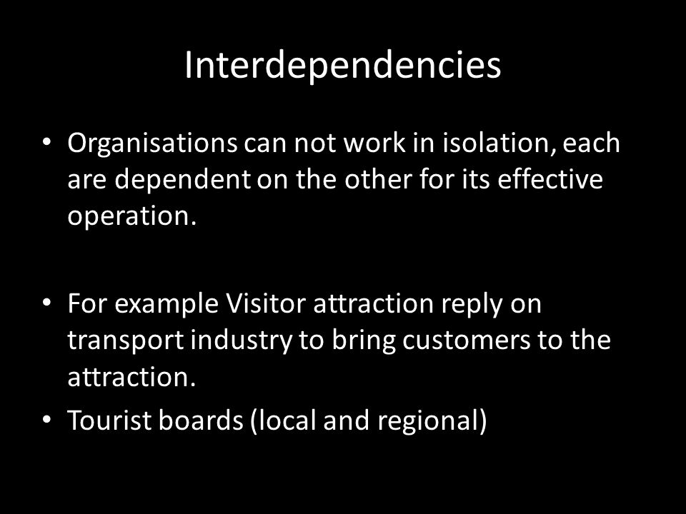 interdependencies in travel and tourism