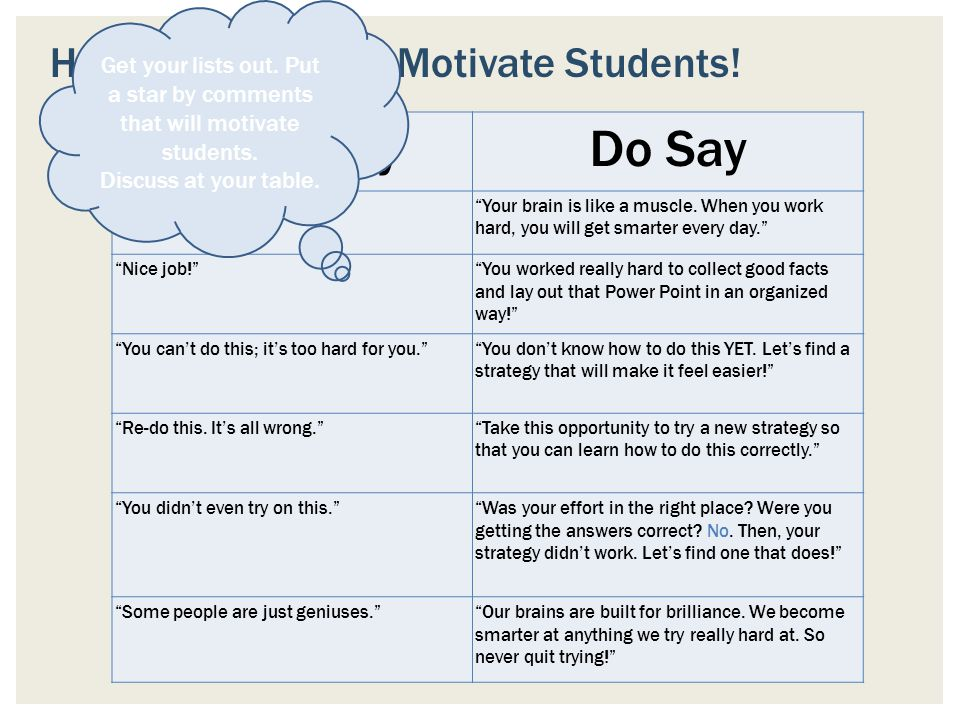 Don't Say Do Say How we say it CAN Motivate Students!
