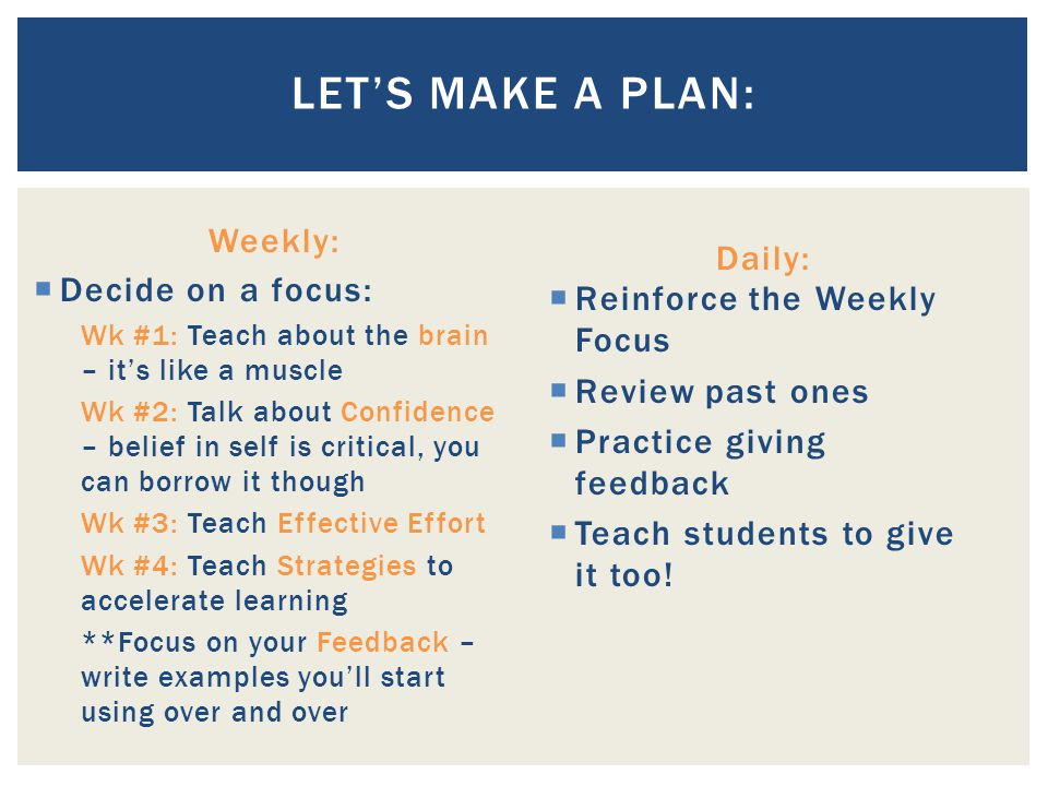 Let's Make a Plan: Weekly: Daily: Decide on a focus: