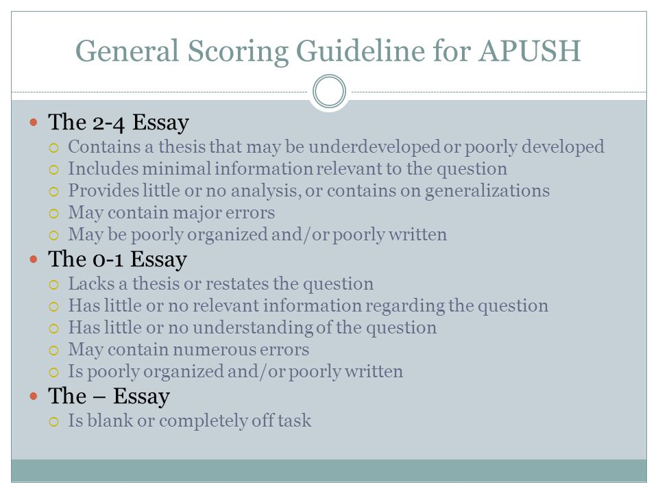 General Scoring Guideline for APUSH