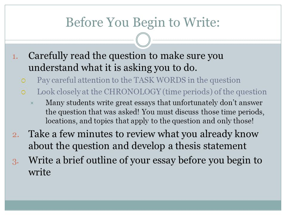Before You Begin to Write:
