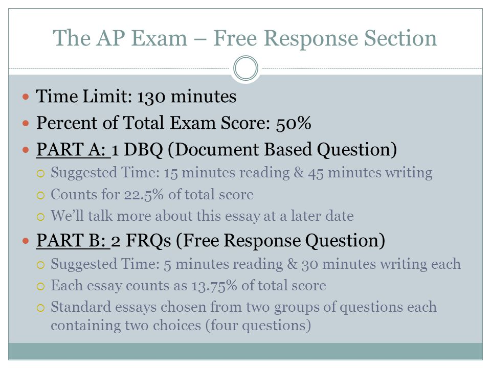 The AP Exam – Free Response Section