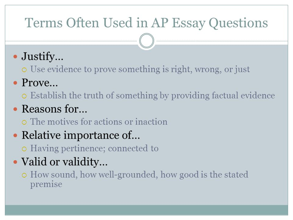 Terms Often Used in AP Essay Questions