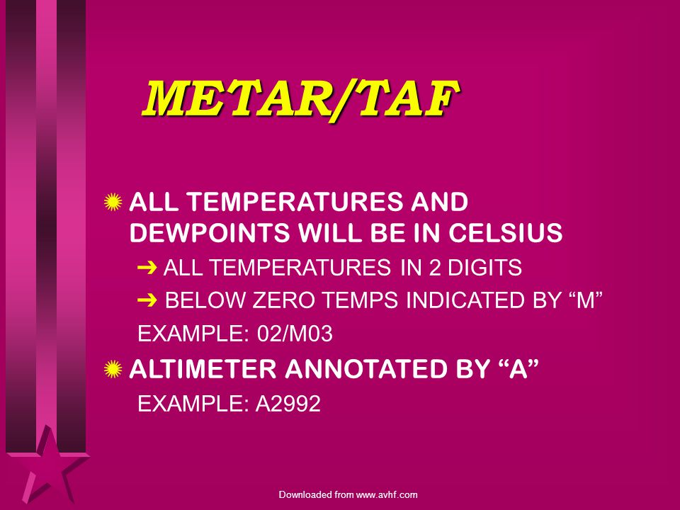 METAR/TAF ALL TEMPERATURES AND DEWPOINTS WILL BE IN CELSIUS