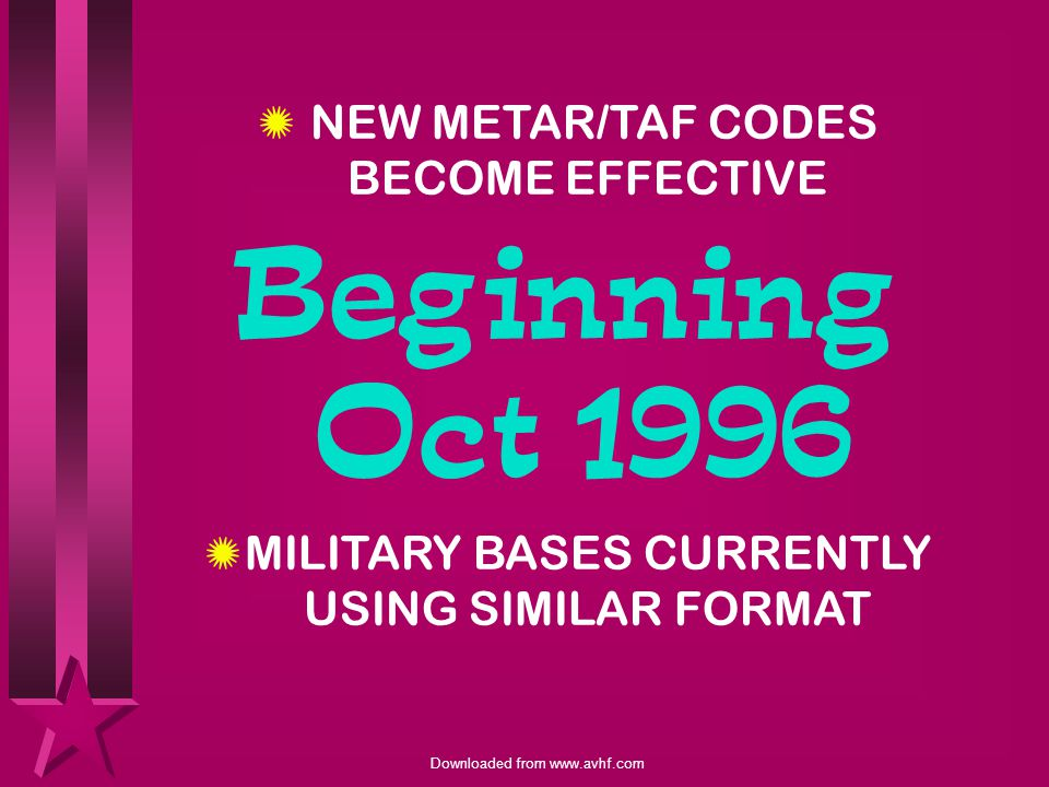 Beginning Oct 1996 NEW METAR/TAF CODES BECOME EFFECTIVE
