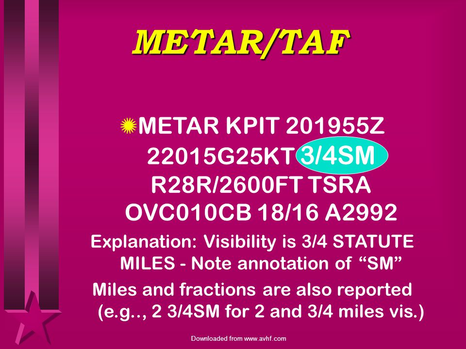 Explanation: Visibility is 3/4 STATUTE MILES - Note annotation of SM