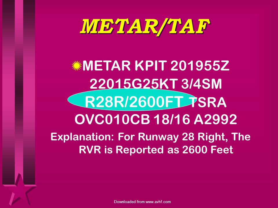 Explanation: For Runway 28 Right, The RVR is Reported as 2600 Feet