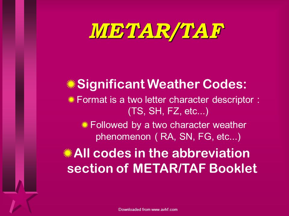 METAR/TAF Significant Weather Codes: