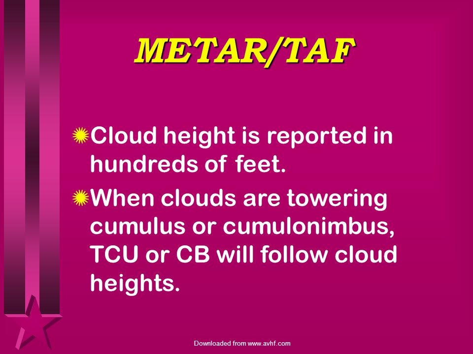 METAR/TAF Cloud height is reported in hundreds of feet.